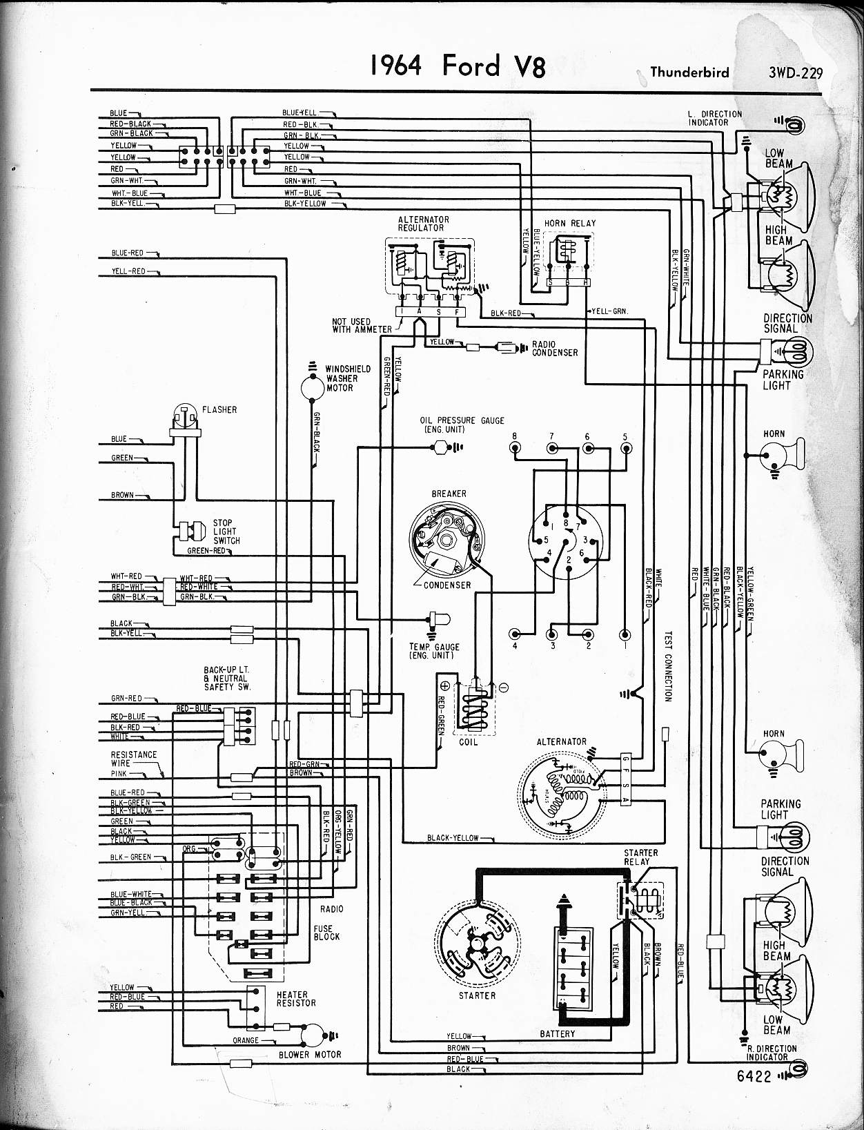 1964 Mustang Fuse Box Diagram Wiring Library Dual Field Alternator And Electronic Voltage Regulator Ford Thunderbird