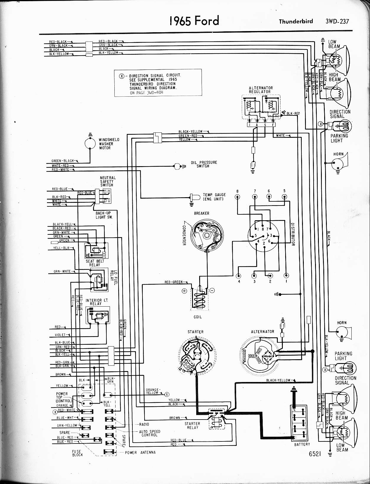 Ford Thunderbird Wiring Diagram Manual E Books 1960 1965 Alternator Image Details1965