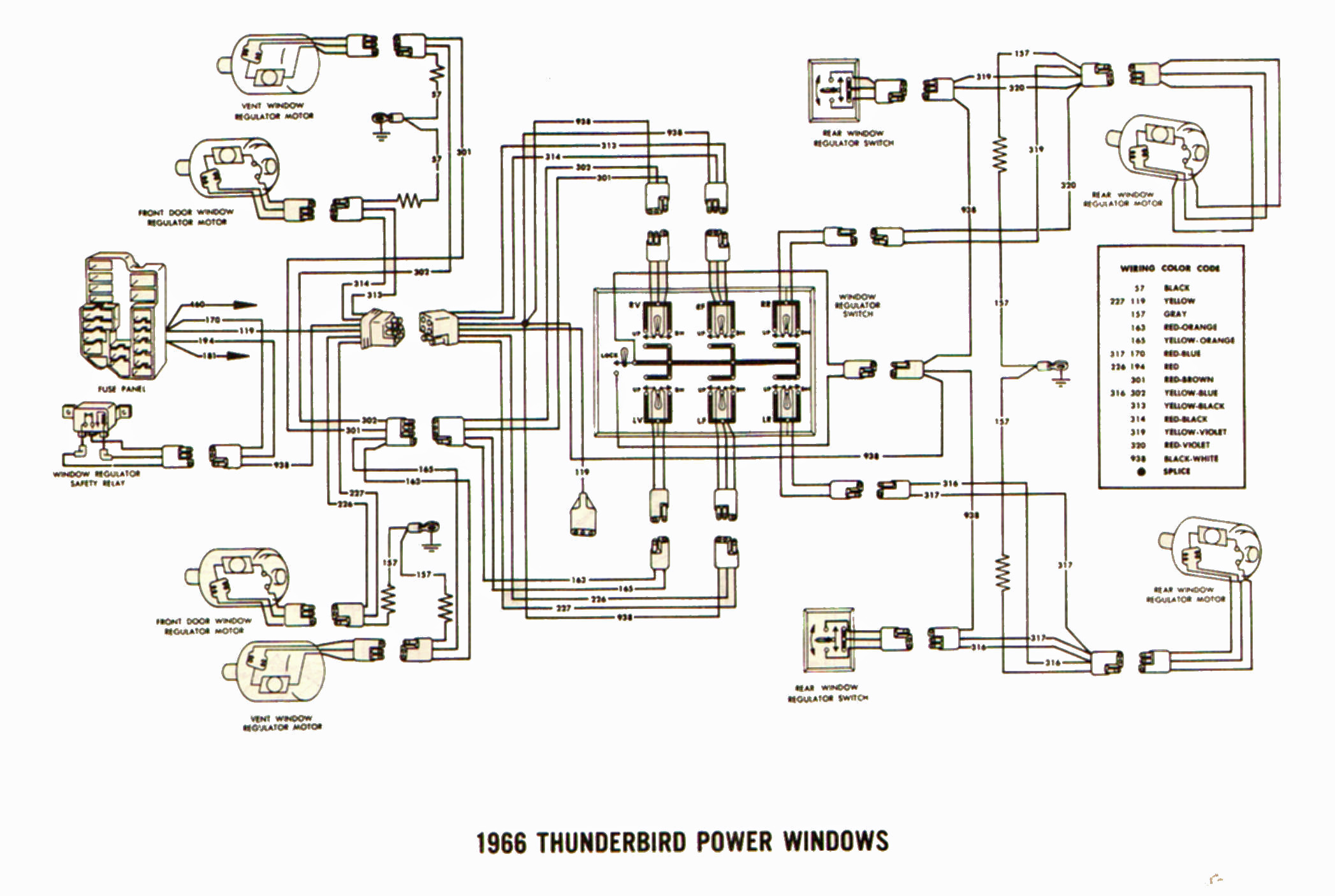 1966 Ford Thunderbird Power Window Wiring
