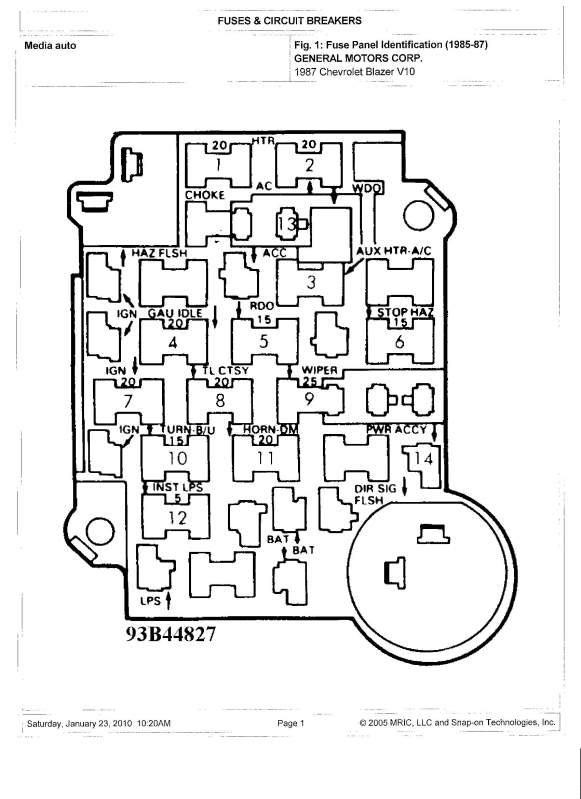 fuse box diagram 1996 chevy s10 parts