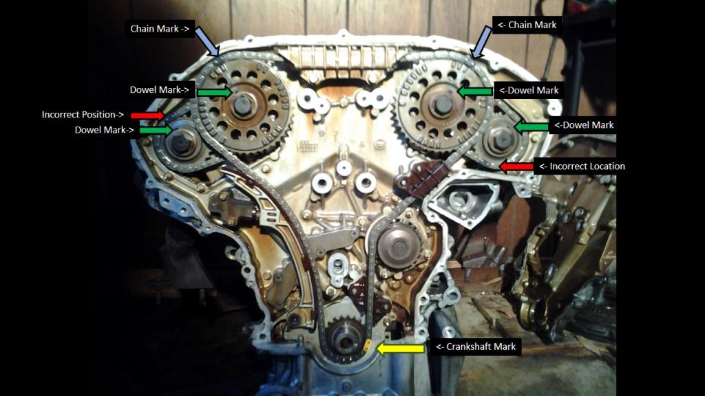 2003 Infiniti G35 Timing Chain Marks