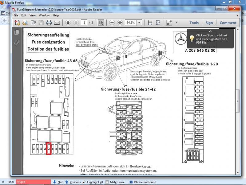 2003 Mercedes C230 Fuse Box Diagram