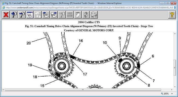 2006 Cadillac CTS Timing Chain Marks