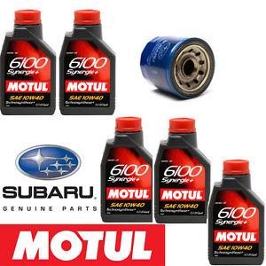 about 5L Motul 6100 Synergie+ 10W40  Subaru Oil Filter 15208AA12A
