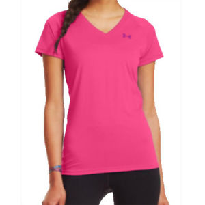 Armour Women's Tech Short Sleeve Tee Shirt Cerise 1228321 655 | eBay