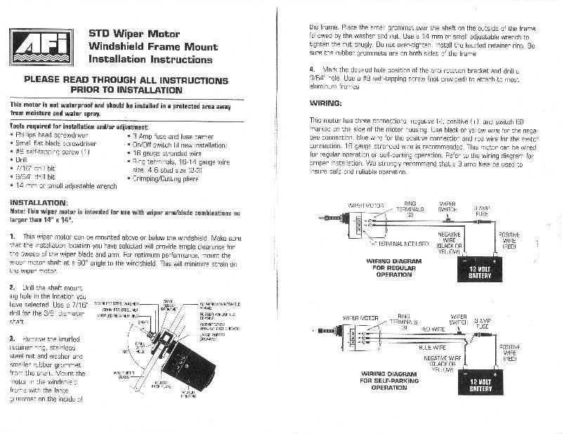 boat windshield wiper motor wiring diagram