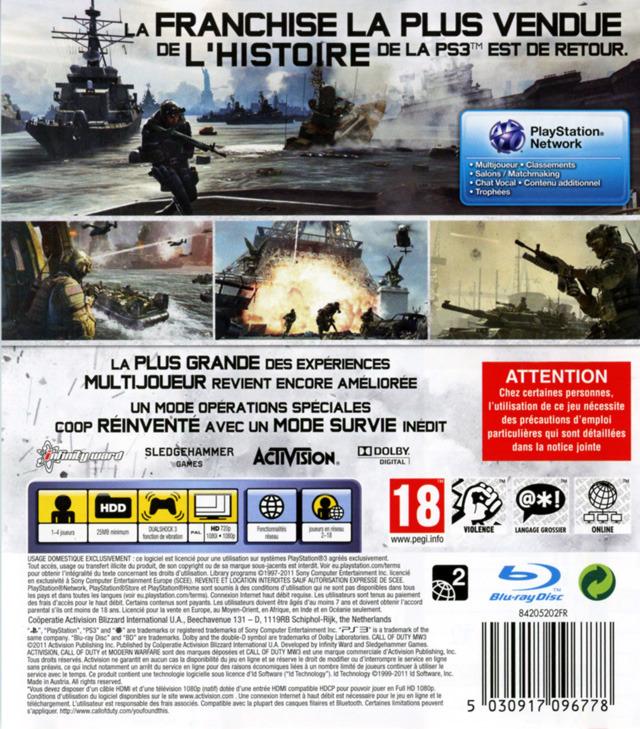 Call of Duty Modern Warfare 3 Back Cover
