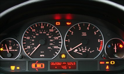 Car Dashboard Warning Lights On