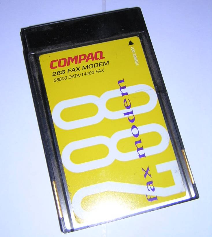 Compaq PCMCIA 288 Fax Modem PC Card Series 565 Dongle Cable Vintage