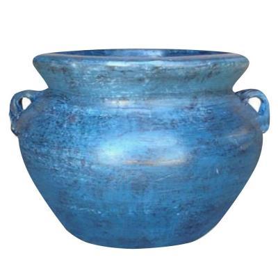 Ravenna Pottery 14 in. Dia Smooth Handle Ocean Azure Clay Pot