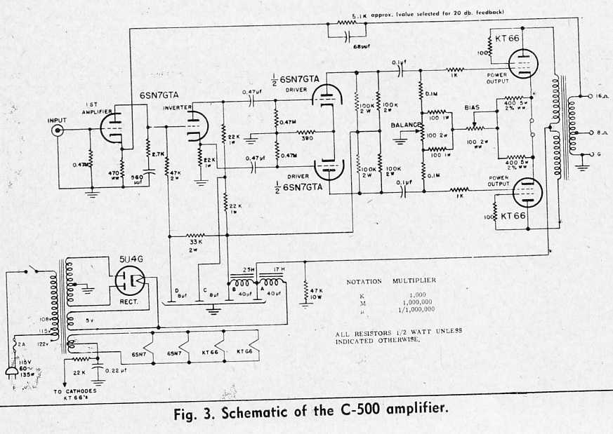 Vintage Tube Power Amplifier Schematics