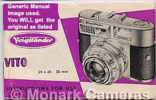 Voigtlander Vito Automatic II Camera Instruction Book, More User Guide