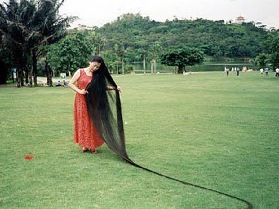 Xie Quiping's hair measured 18 feet, 5.54 inches long on May 8, 2004